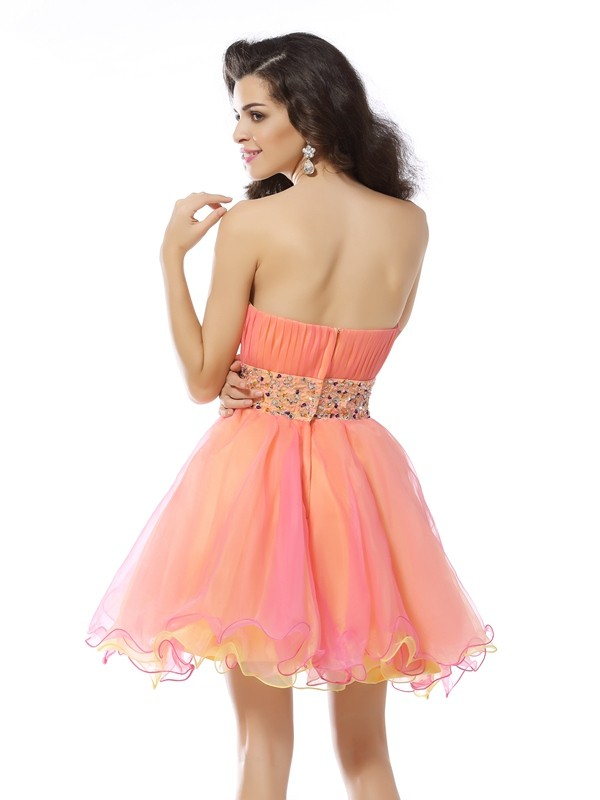 A-Line/Princess Strapless Beading Sleeveless Short Organza Cocktail Dresses