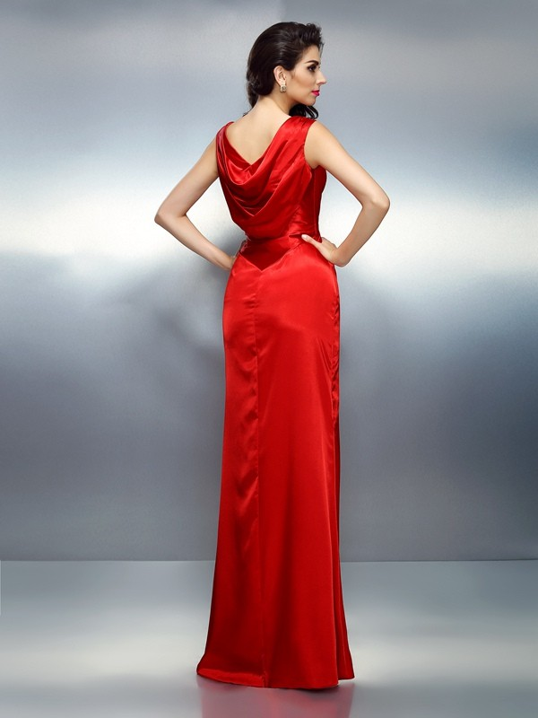Trumpet/Mermaid V-neck Sleeveless Long Silk like Satin Dresses