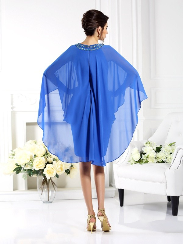 Sheath/Column Bateau 3/4 Sleeves Short Chiffon Mother of the Bride Dresses