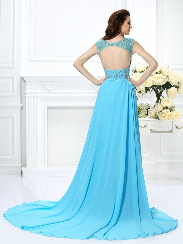 A-Line/Princess Scoop Beading Sleeveless Long Chiffon Dresses