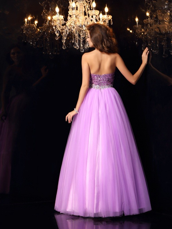 Ball Gown Sweetheart Sequin Sleeveless Long Elastic Woven Satin Quinceanera Dresses