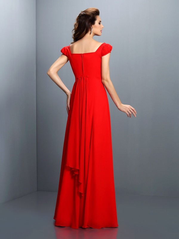 A-Line/Princess Bateau Short Sleeves Long Satin Dresses