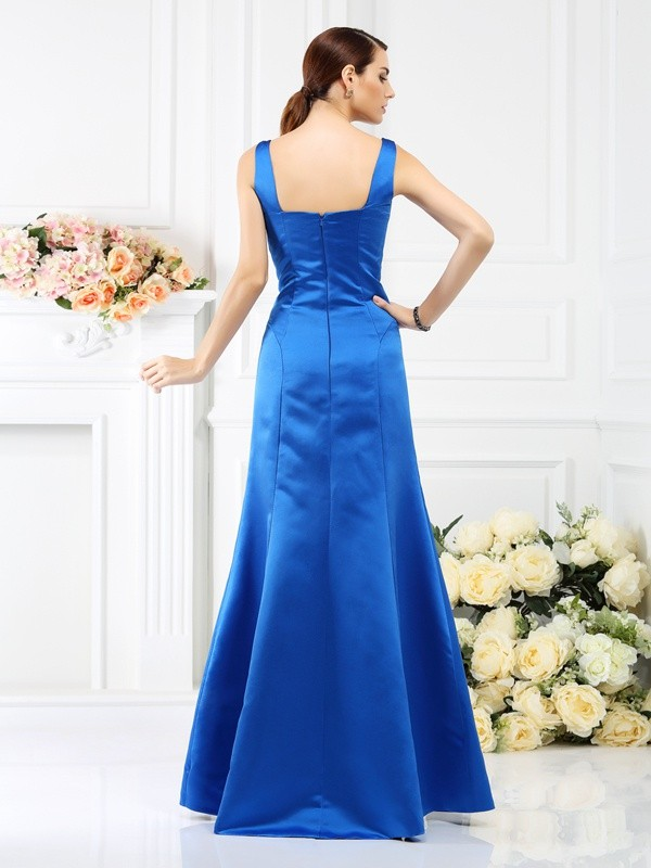 Sheath/Column Straps Sleeveless Long Satin Bridesmaid Dresses