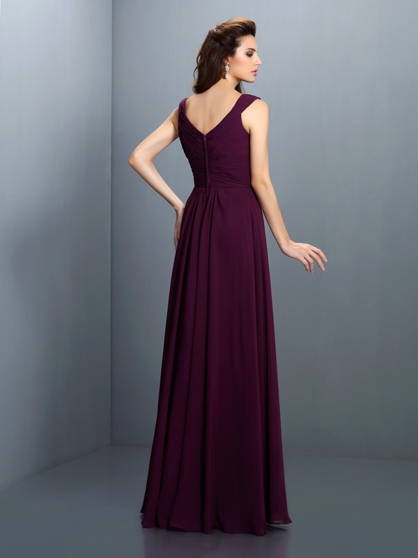A-Line/Princess V-neck Beading Pleats Sleeveless Long Chiffon Bridesmaid Dresses
