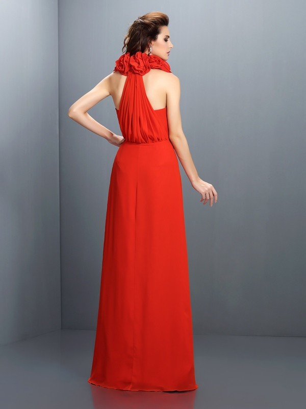 A-Line/Princess Halter Hand-Made Flower Sleeveless Long Chiffon Dresses