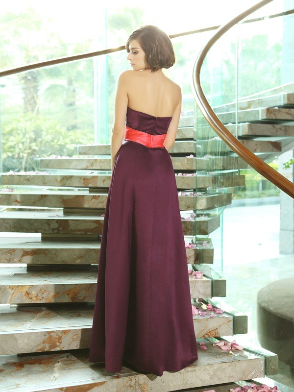 A-Line/Princess Sweetheart Sleeveless Long Satin Bridesmaid Dresses