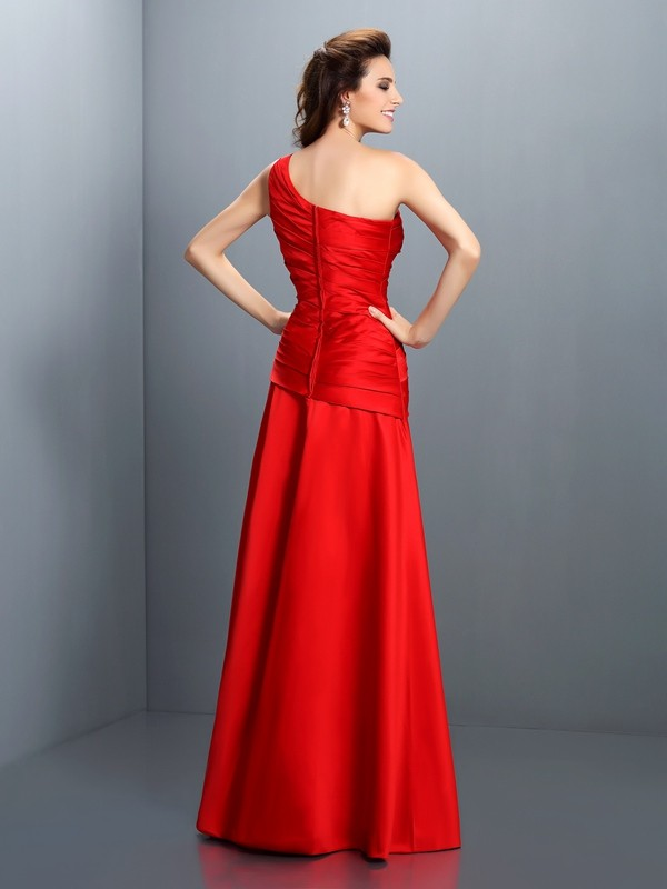 A-Line/Princess One-Shoulder Pleats Sleeveless Long Satin Dresses