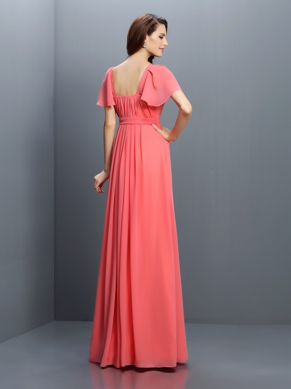 A-Line/Princess Sweetheart Pleats 1/2 Sleeves Long Chiffon Bridesmaid Dresses