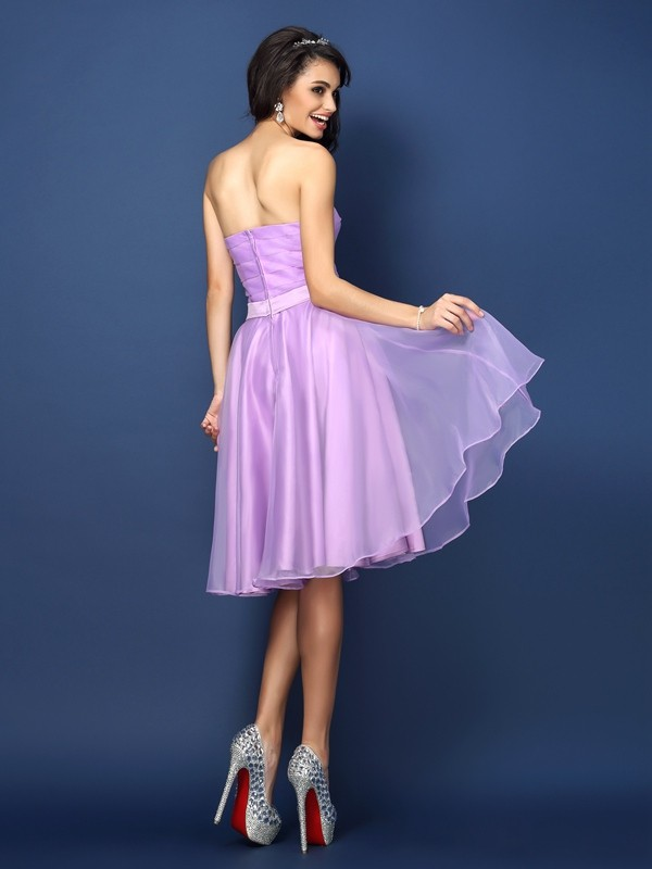A-Line/Princess Strapless Pleats Sleeveless Short Satin Bridesmaid Dresses