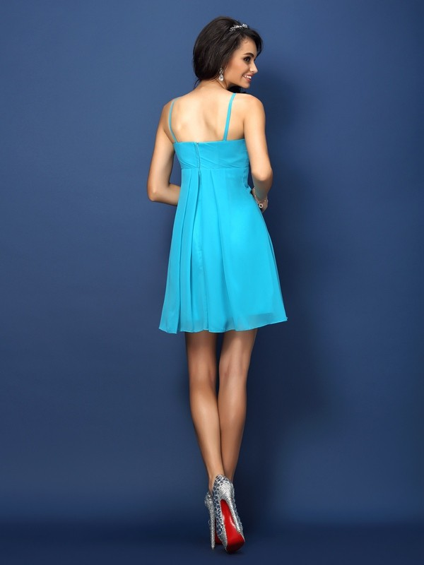 A-Line/Princess Spaghetti Straps Pleats Sleeveless Short Chiffon Bridesmaid Dresses