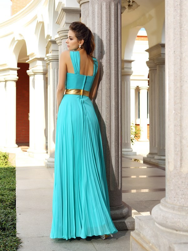 A-Line/Princess Pleats Sleeveless Long Chiffon Dresses