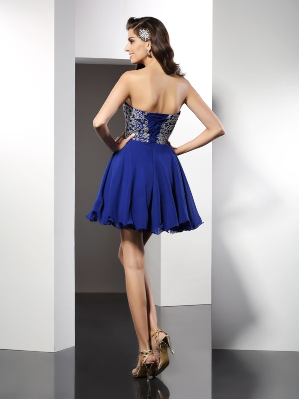 A-Line/Princess Sweetheart Ruffles Sleeveless Short Chiffon Cocktail Dresses