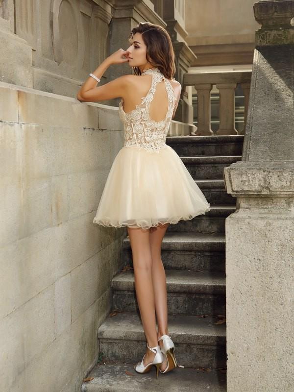 A-Line/Princess High Neck Ruffles Sleeveless Short Tulle Cocktail Dresses