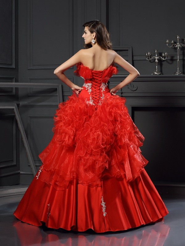 Ball Gown Strapless Ruffles Sleeveless Long Organza Quinceanera Dresses