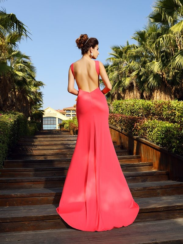 Trumpet/Mermaid Bateau Sleeveless Long Spandex Dresses