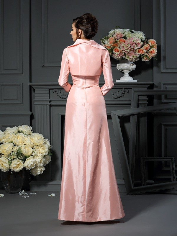 A-Line/Princess Strapless Pleats Sleeveless Long Taffeta Mother of the Bride Dresses