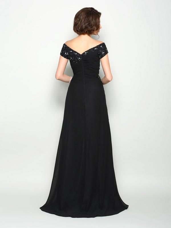 A-Line/Princess Off-the-Shoulder Beading Short Sleeves Long Chiffon Mother of the Bride Dresses