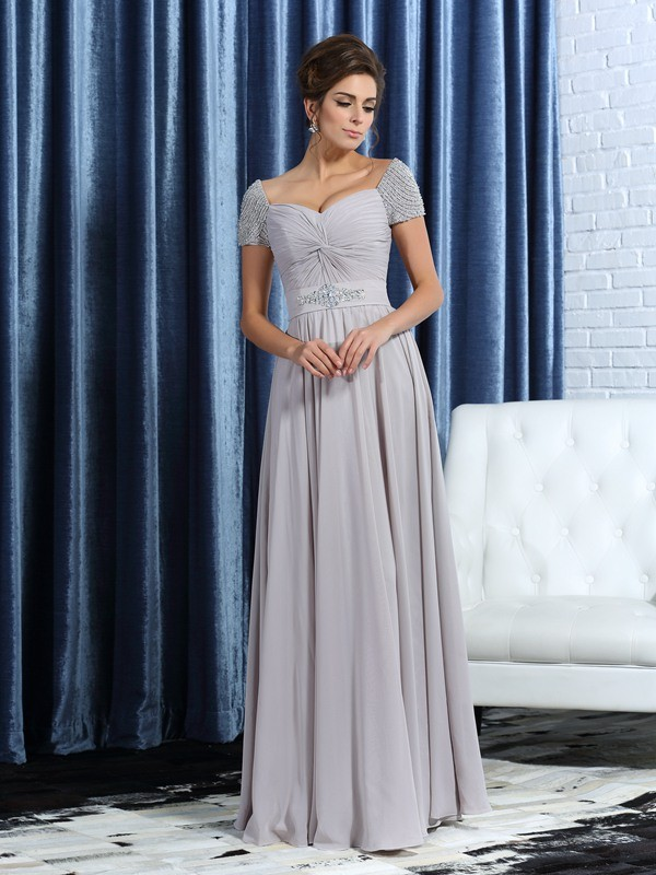 A-Line/Princess Sweetheart Beading Short Sleeves Long Chiffon Mother of the Bride Dresses