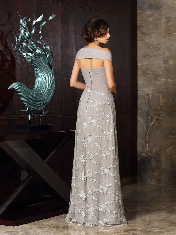 A-Line/Princess Off-the-Shoulder Applique Sleeveless Long Chiffon Mother of the Bride Dresses