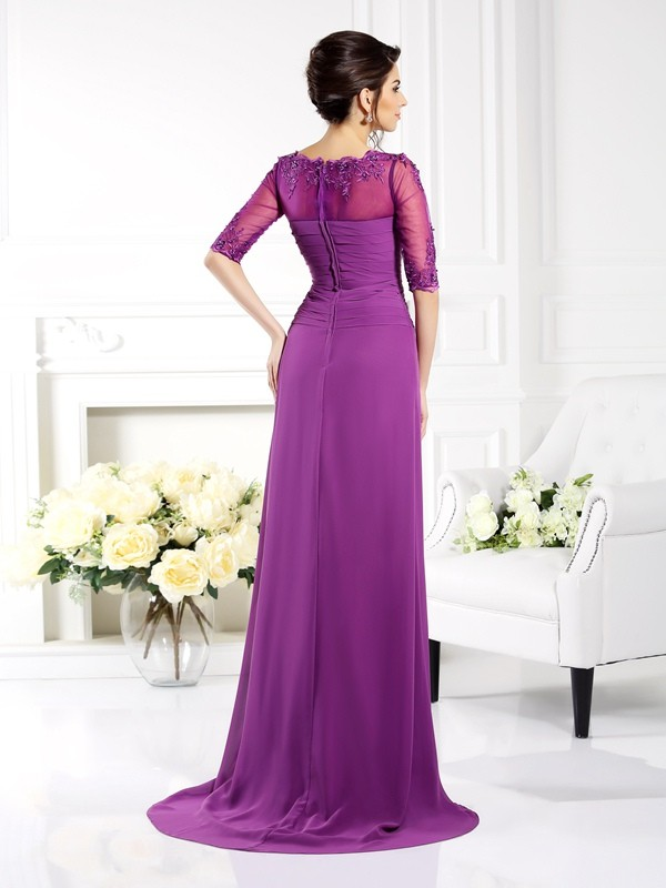 Sheath/Column Scoop Applique 1/2 Sleeves Long Chiffon Mother of the Bride Dresses