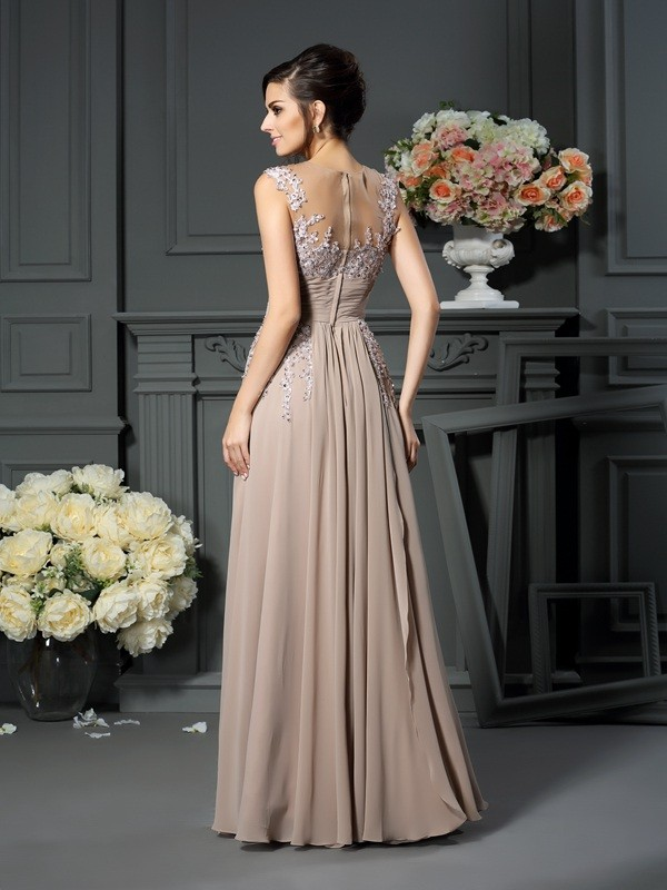 A-Line/Princess Scoop Beading Sleeveless Long Silk like Satin Mother of the Bride Dresses