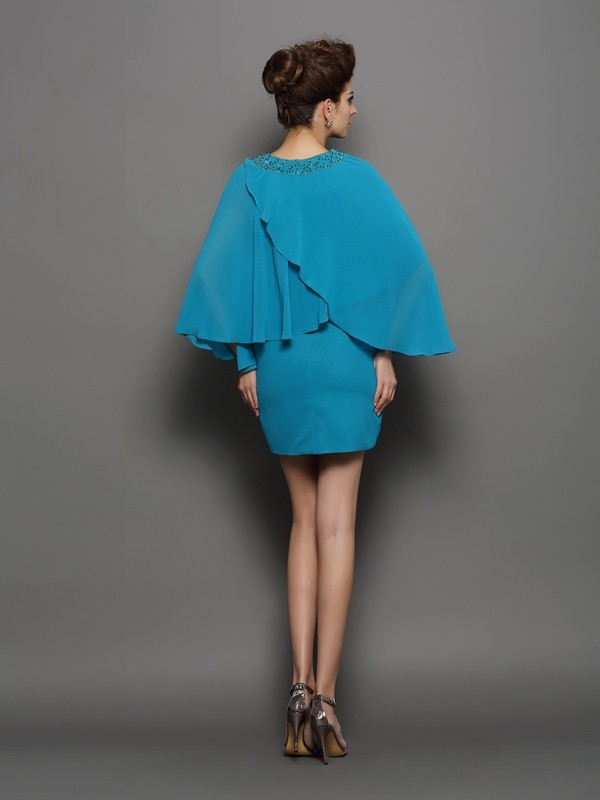 Sheath/Column Scoop Beading Long Sleeves Short Silk like Satin Mother of the Bride Dresses