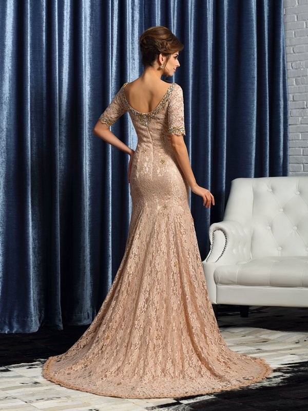 Trumpet/Mermaid V-neck Lace Sleeveless Long Elastic Woven Satin Mother of the Bride Dresses