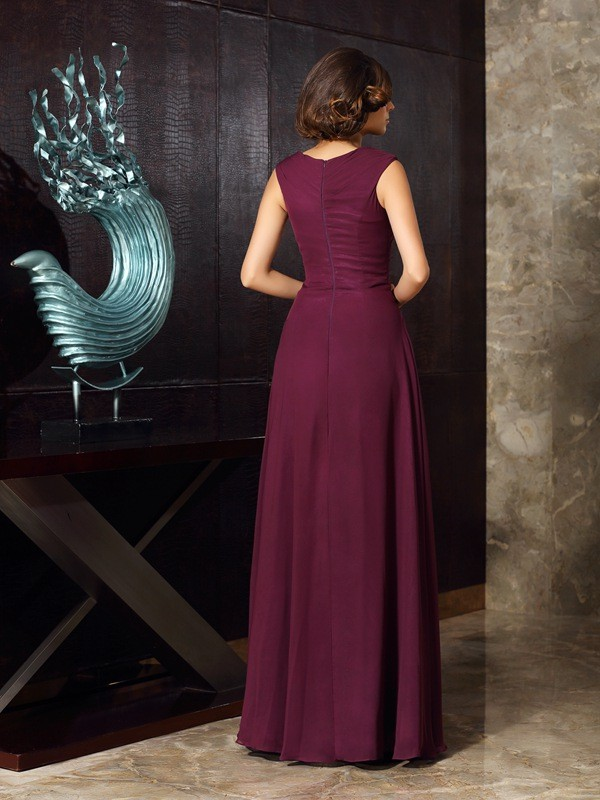 A-Line/Princess Beading Sleeveless Long Chiffon Mother of the Bride Dresses