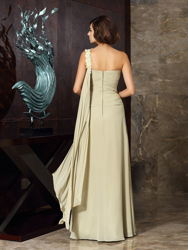 A-Line/Princess One-Shoulder Applique Sleeveless Long Chiffon Mother of the Bride Dresses