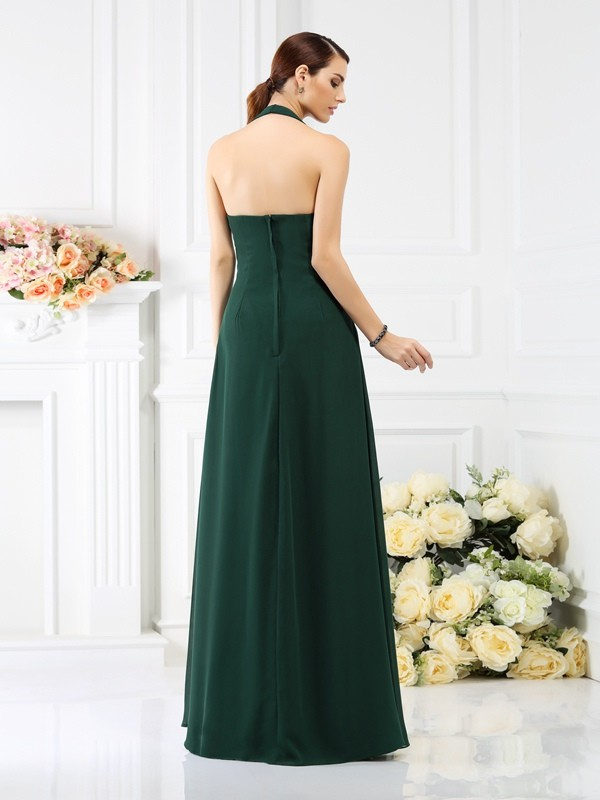 A-Line/Princess Halter Beading Sleeveless Long Chiffon Bridesmaid Dresses