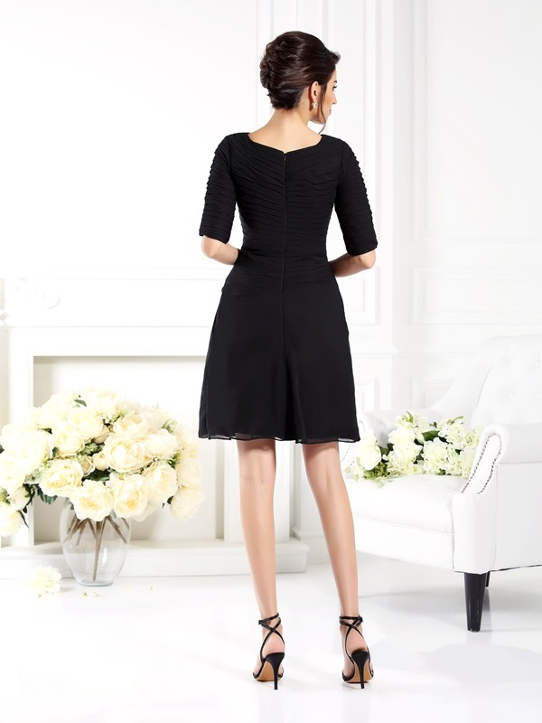 Sheath/Column Ruched 1/2 Sleeves Short Chiffon Bridesmaid Dresses