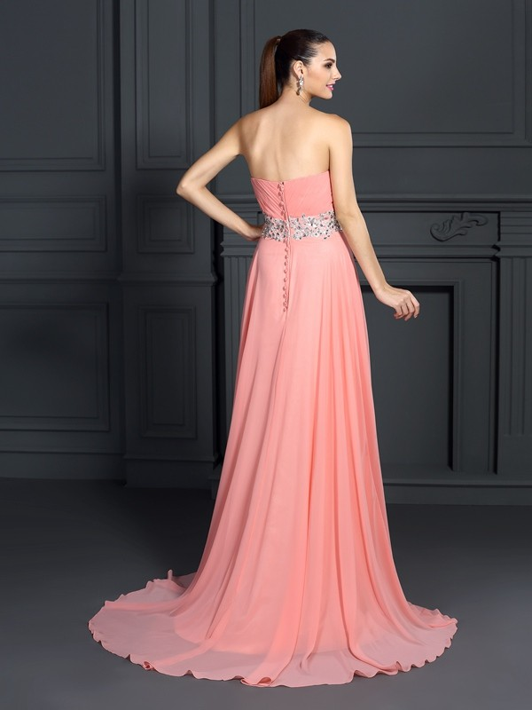A-Line/Princess Sweetheart Ruffles Sleeveless Long Chiffon Dresses