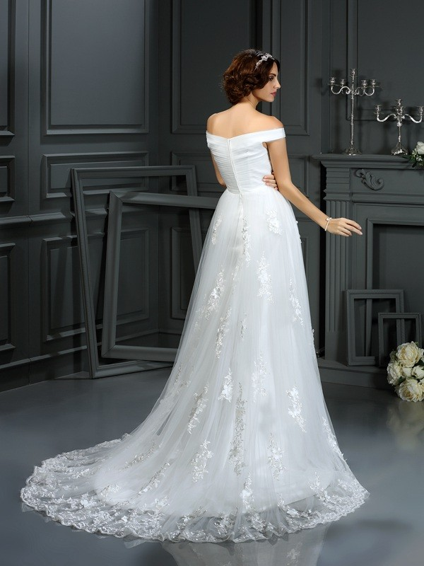 A-Line/Princess Off-the-Shoulder Applique Sleeveless Long Net Wedding Dresses