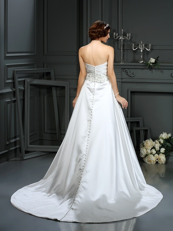A-Line/Princess Strapless Beading Sleeveless Long Satin Wedding Dresses