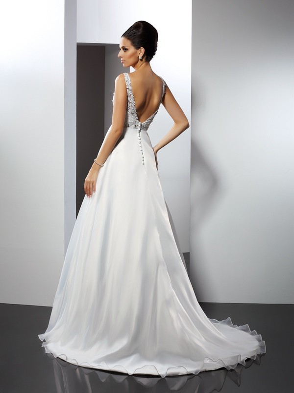 A-Line/Princess Scoop Ruffles Sleeveless Long Satin Wedding Dresses