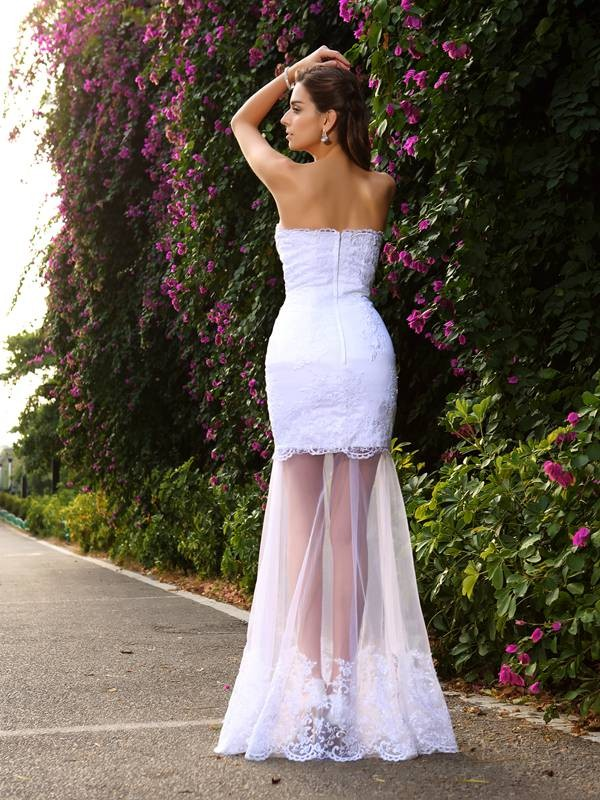 Trumpet/Mermaid Sweetheart Applique Sleeveless Long Tulle Wedding Dresses