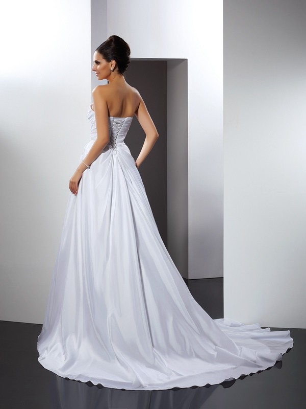 A-Line/Princess Sweetheart Sleeveless Ruffles Cathedral Train Satin Wedding Dresses