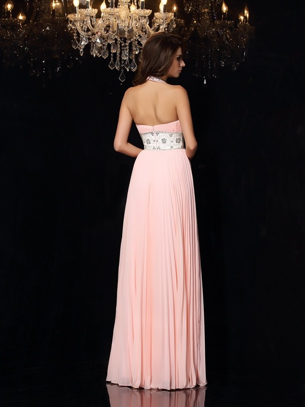 A-Line/Princess High Neck Pleats Sleeveless Long Chiffon Dresses