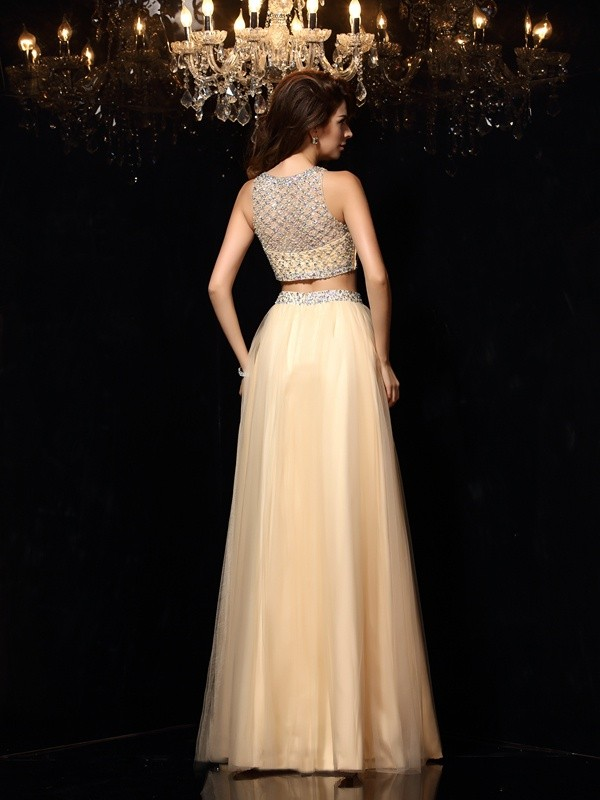 A-Line/Princess High Neck Beading Sleeveless Long Net Two Piece Dresses