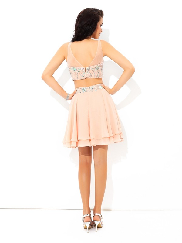 A-Line/Princess Sheer Neck Beading Sleeveless Short Chiffon Two Piece Dresses