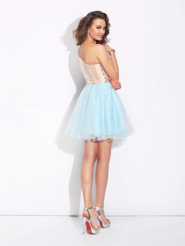 A-Line/Princess One-Shoulder Beading Long Sleeves Short Elastic Woven Satin Dresses