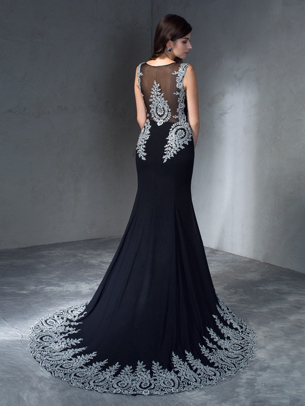Trumpet/Mermaid Scoop Applique Sleeveless Long Chiffon Dresses
