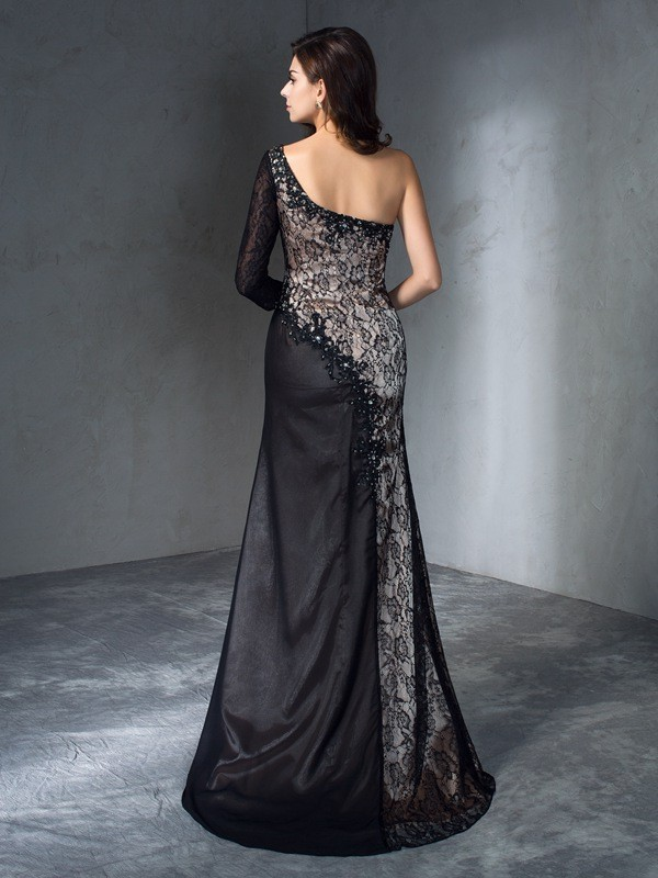 Trumpet/Mermaid One-Shoulder 3/4 Sleeves Long Lace Dresses