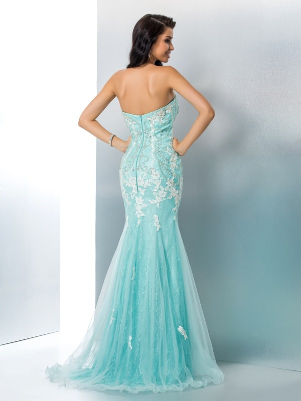 Trumpet/Mermaid Strapless Sleeveless Applique Lace Sweep/Brush Train Dresses