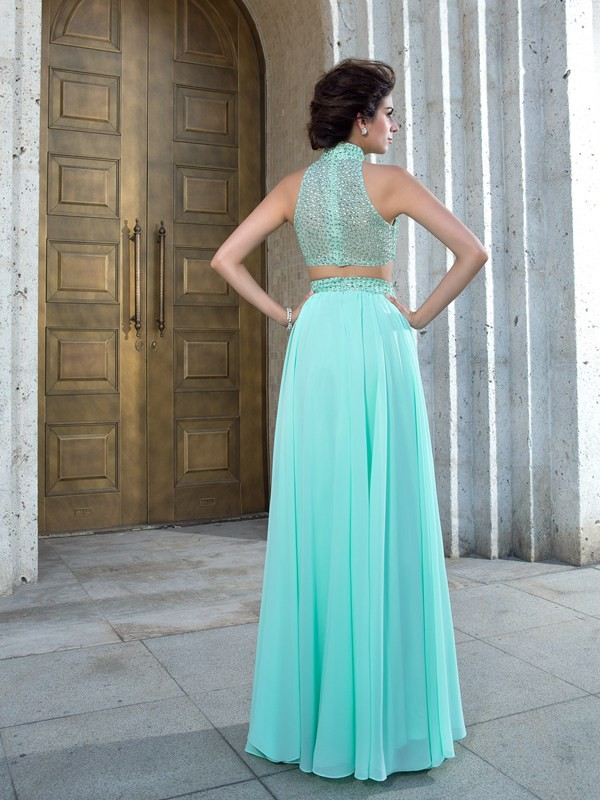 A-Line/Princess High Neck Beading Sleeveless Long Chiffon Two Piece Dresses