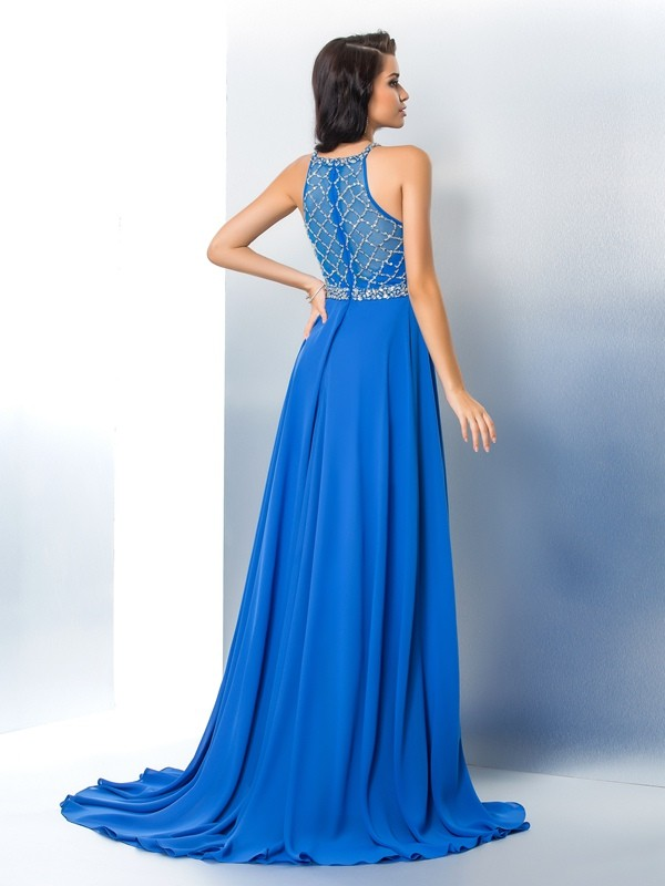 A-Line/Princess Scoop Beading Long Sleeveless Chiffon Dresses