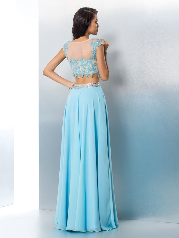 A-Line/Princess Sheer Neck Applique Short Sleeves Long Chiffon Two Piece Dresses