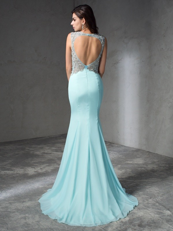 Trumpet/Mermaid Jewel Beading Sleeveless Long Chiffon Dresses