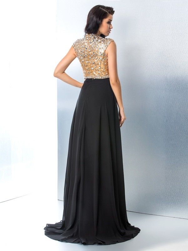 A-Line/Princess V-neck Rhinestone Sleeveless Long Chiffon Dresses