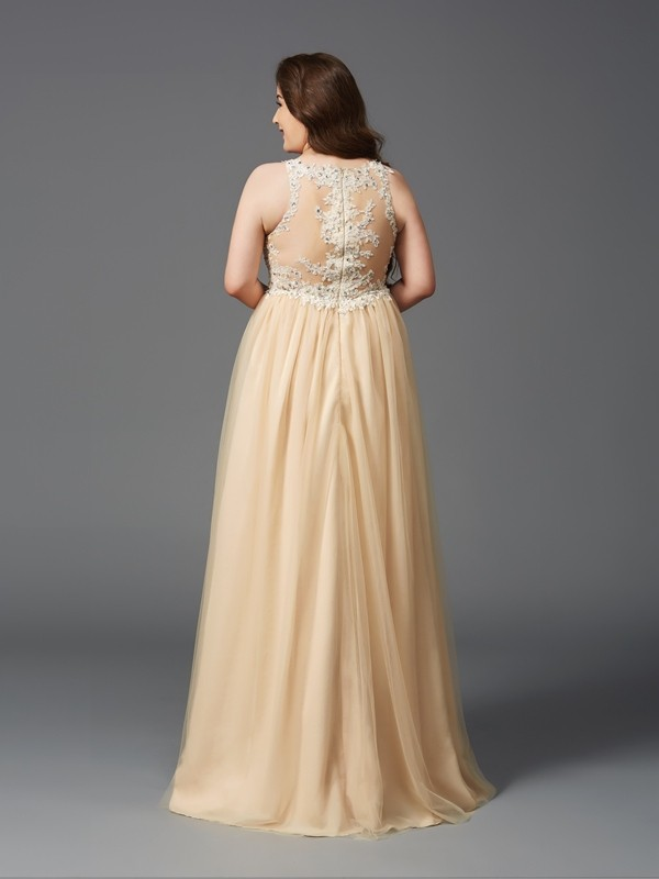 A-Line/Princess Scoop Rhinestone Sleeveless Long Net Plus Size Dresses